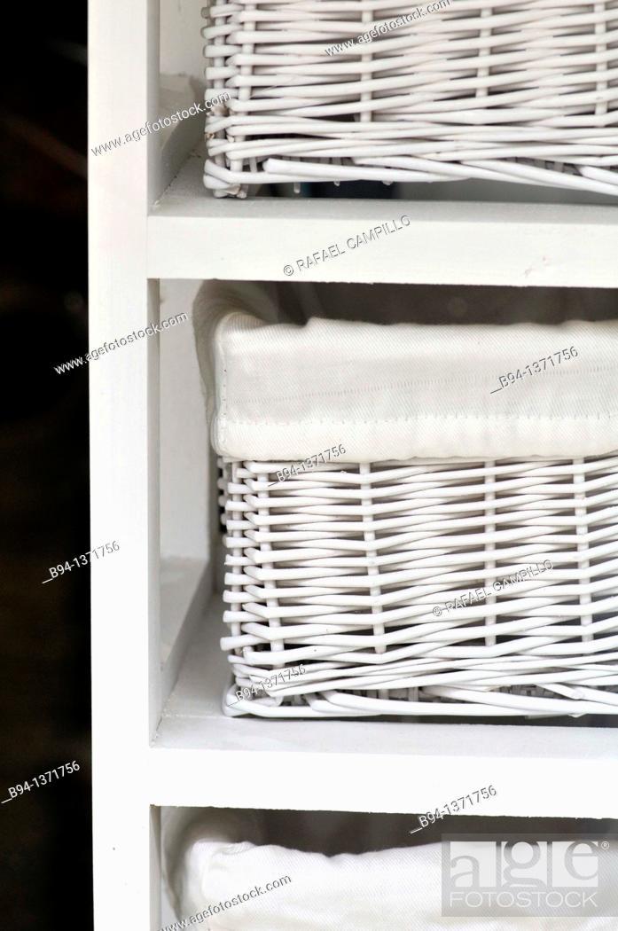 Stock Photo: White wicker baskets.