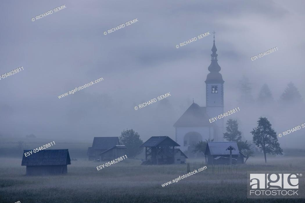 Imagen: morning fog in river valley Sava Bohinjka, Slovenia.