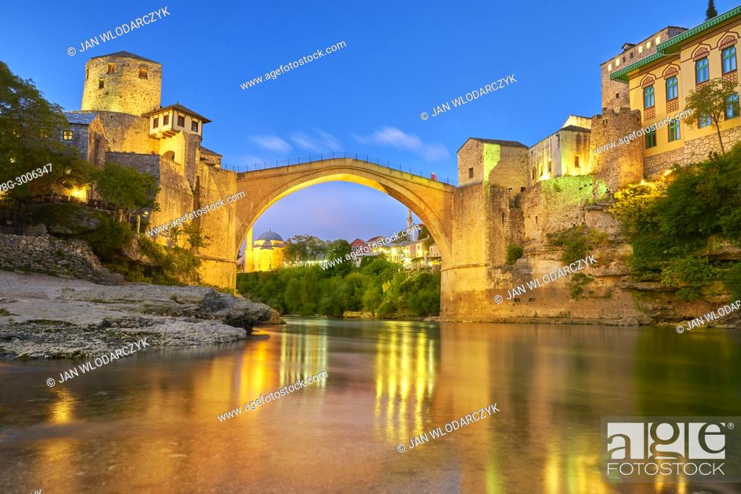 Stock Photo: Evening view at Stari Most or Old Bridge, Neretva River, Mostar, Bosnia and Herzegovina.