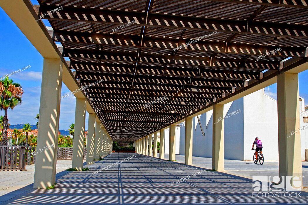 Stock Photo: pergola, Port Olimpic, Barcelona, Catalonia, Spain.
