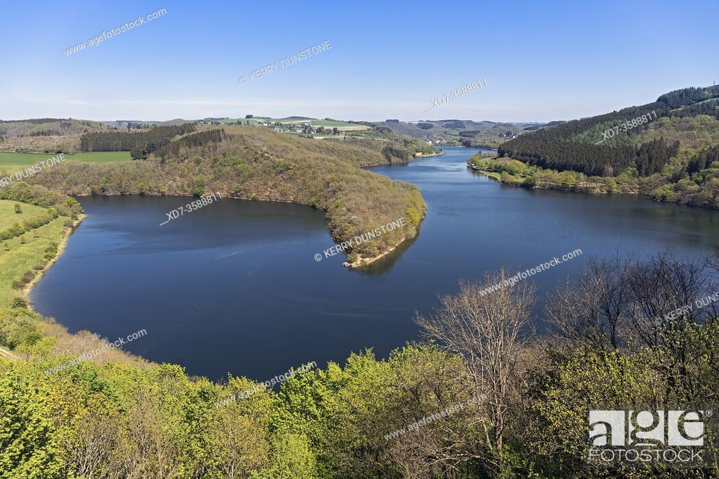 """Stock Photo: Europe, Luxembourg, Insenborne, Lac Sure viewed from """"""""The Belvedere"""""""" Viewing Platform."""
