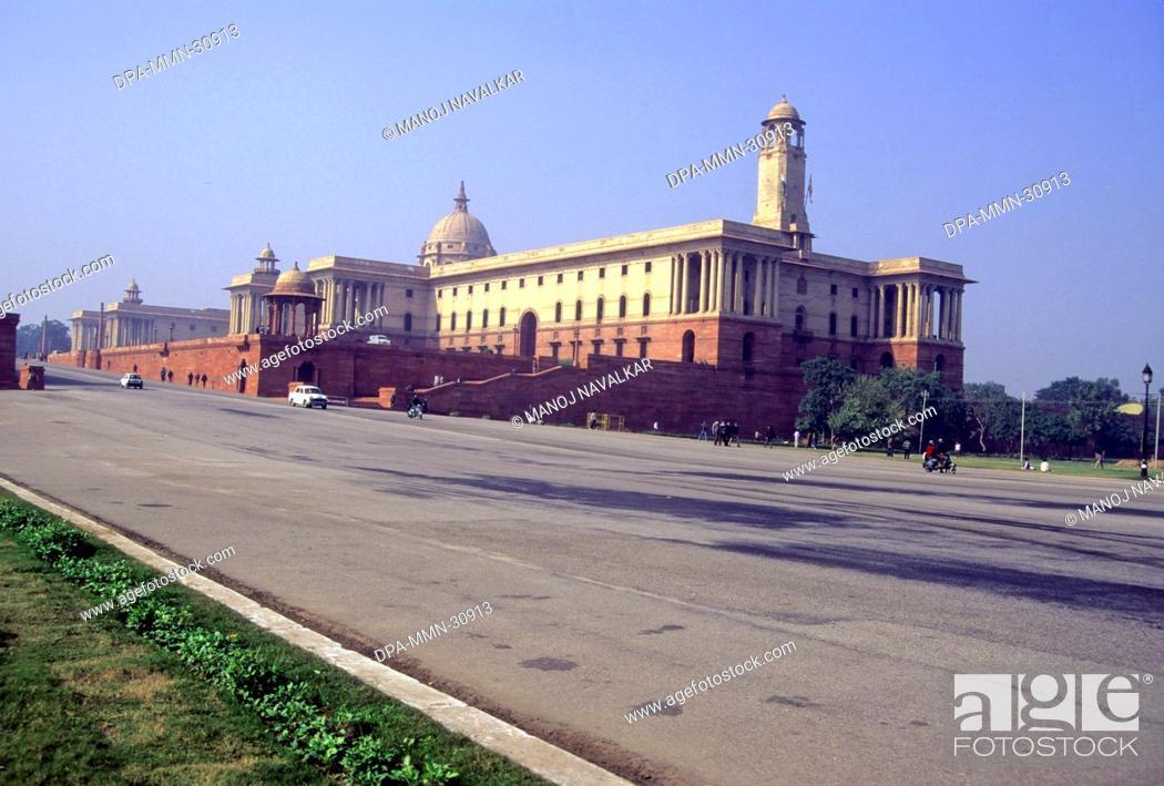 Stock Photo: View of Rashtrapati Bhavan (north block) from Rajpath , New Delhi , India.