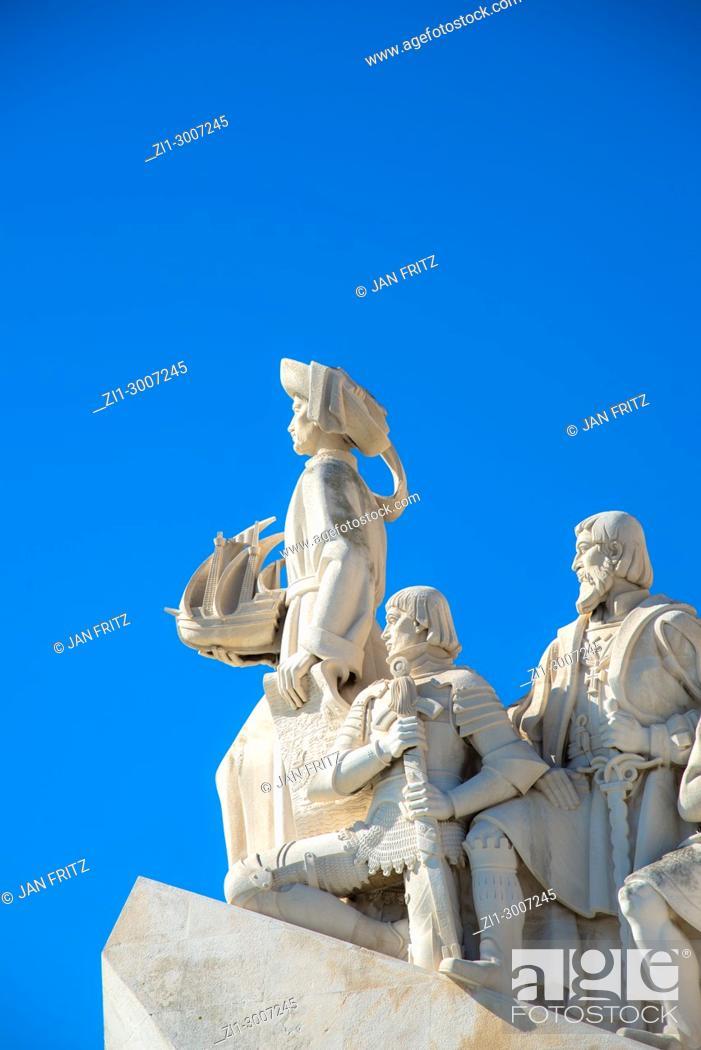 Stock Photo: Detail of descobrimentos monument in Lisbon, Portugal.