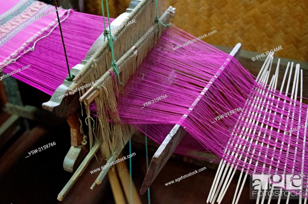 Stock Photo: A weaver's loom displayed at the Sergeant Major Thawee folk museum, Phitsanulok, Thailand.