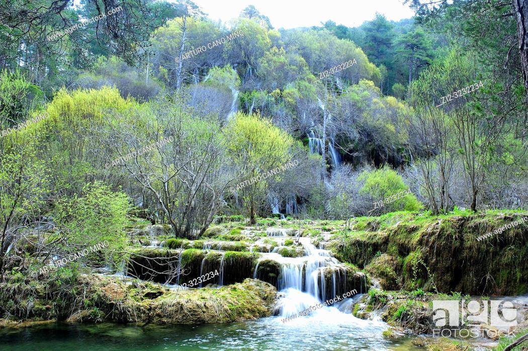 Stock Photo: The River Cuervo Natural Monument. Serrania de Cuenca Natural Park. Cuenca Province, Spain.