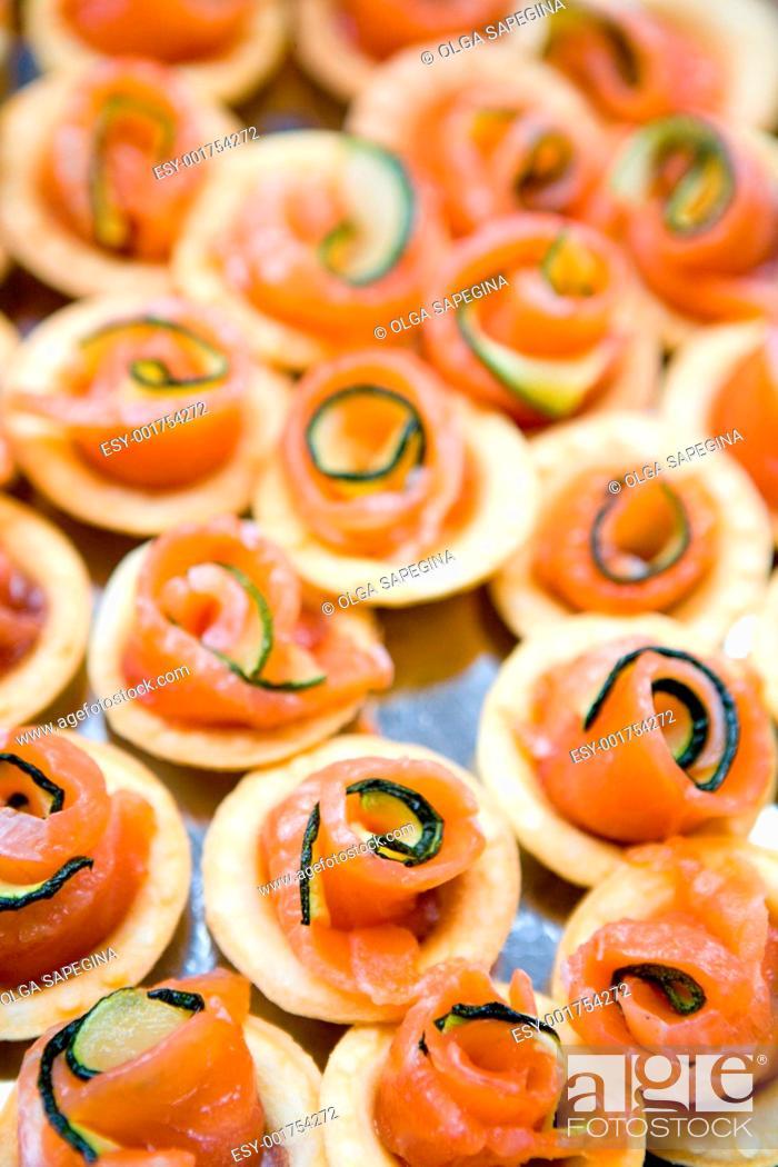 Stock Photo: salmon canape.