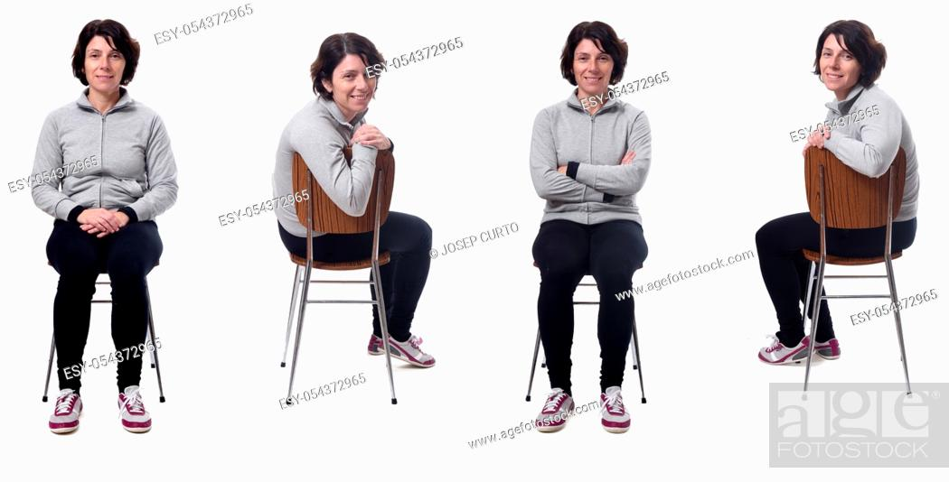 Photo de stock: woman sitting on a chair on white background.