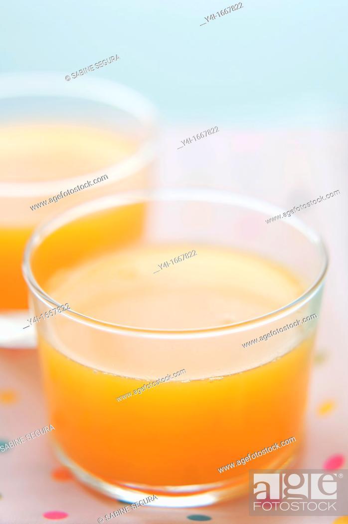 Stock Photo: Orange juice  Two glasses.