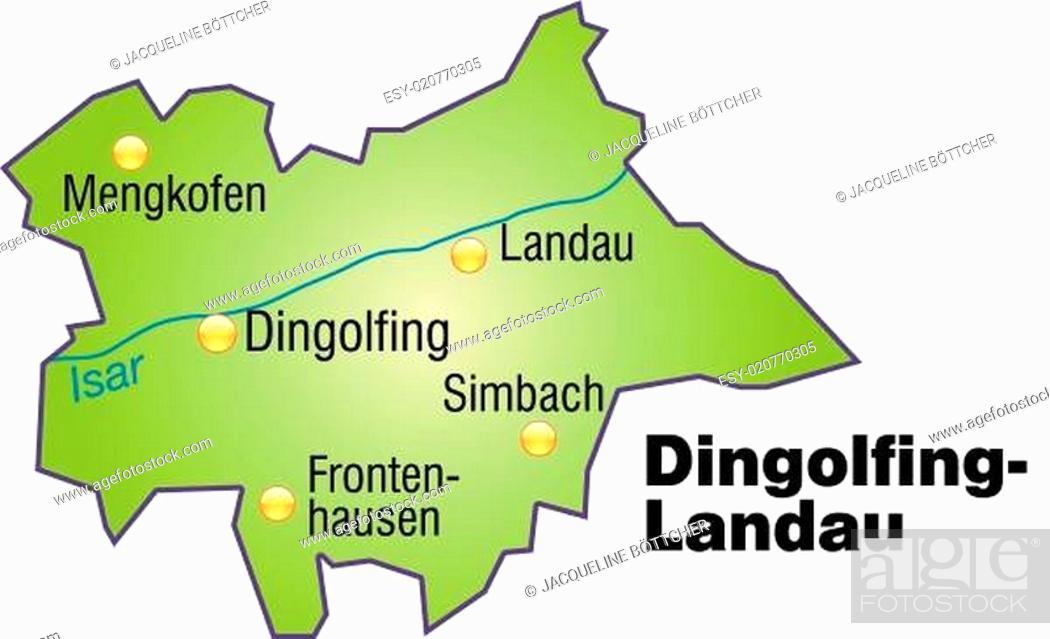 Karte Von Dingolfing Landau Als Ubersichtskarte In Grun Stock