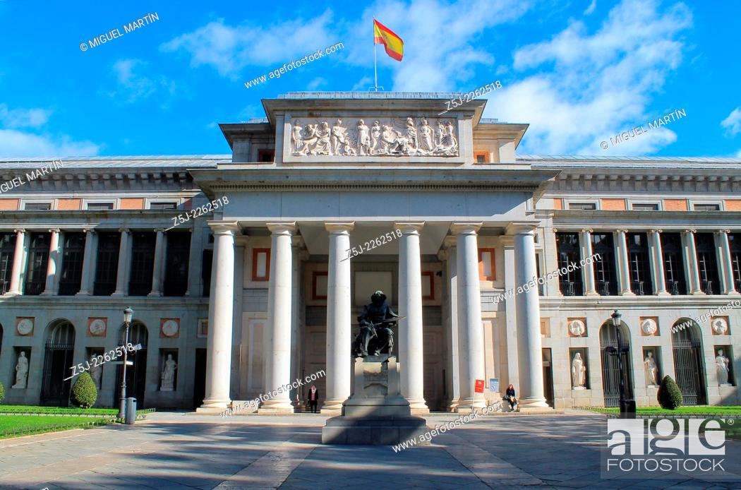 Stock Photo: The Museo del Prado in Madrid and monument to Diego Velázquez (1599-1660), maybe the greatest Spanish painter together Francisco de Goya (1746-1828).