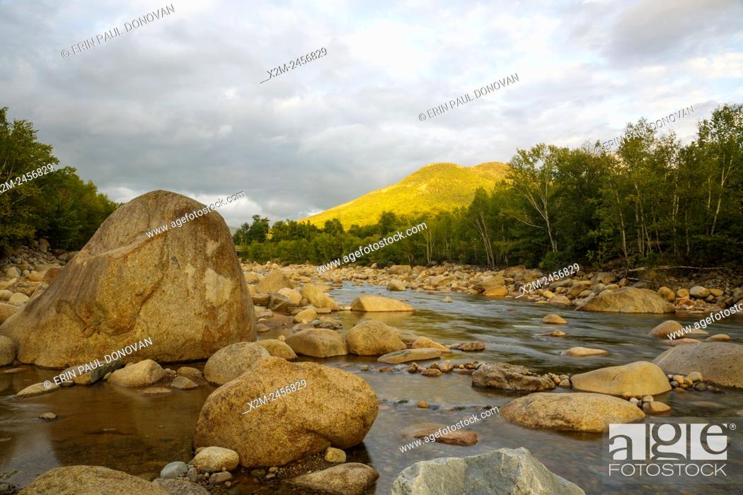 Stock Photo: East Branch of the Pemigewasset River in Lincoln, New Hampshire USA near the Loon Mountain entrance during the summer months.
