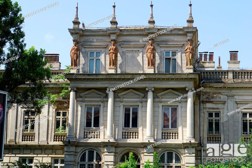 Stock Photo: Building and street scene in Bucharest, Romania.