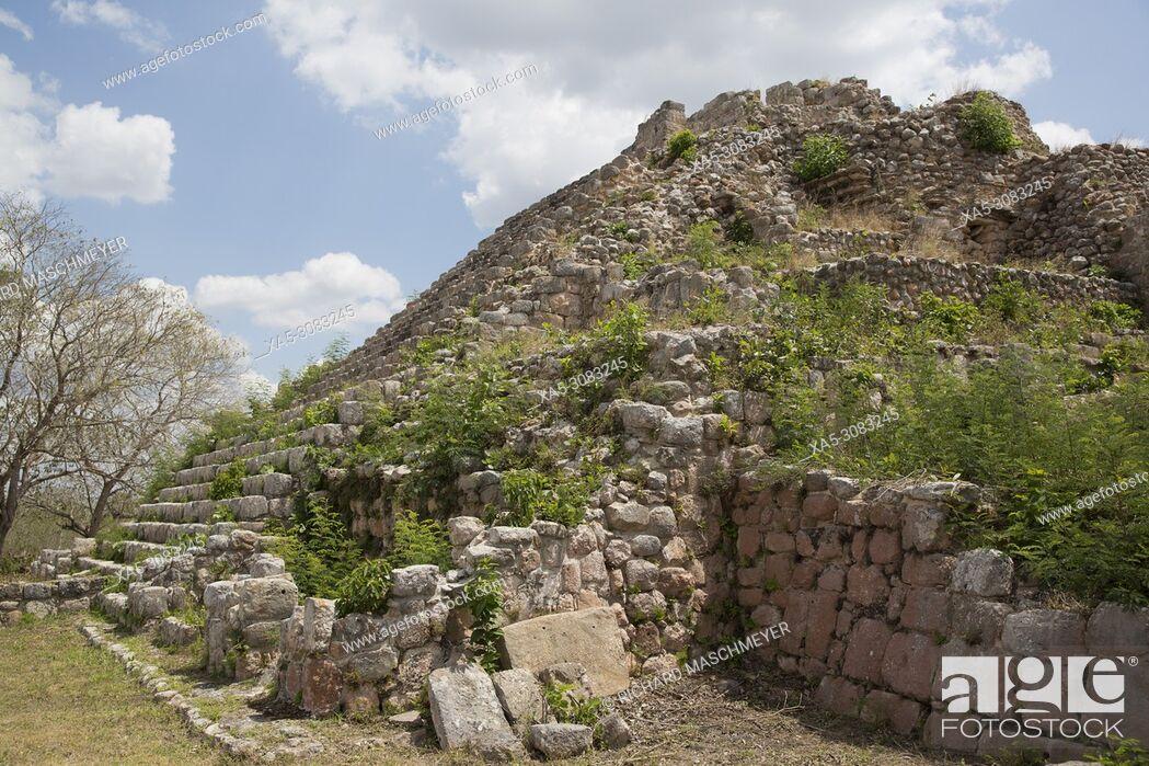 Stock Photo: Mayan Ruins, Pyramid MA-1, Oxkintok Archaeological Zone, 300 -1, 050 AD, Yucatan, Mexico.