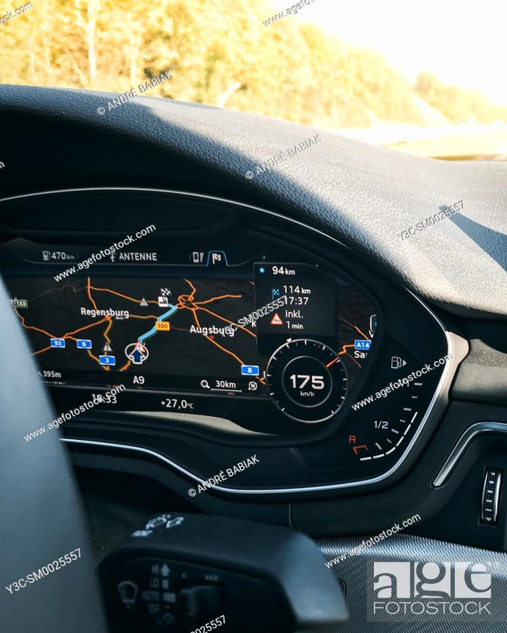 Stock Photo: Modern car instrument cluster with speed, odometer, GPS map display, Germany.