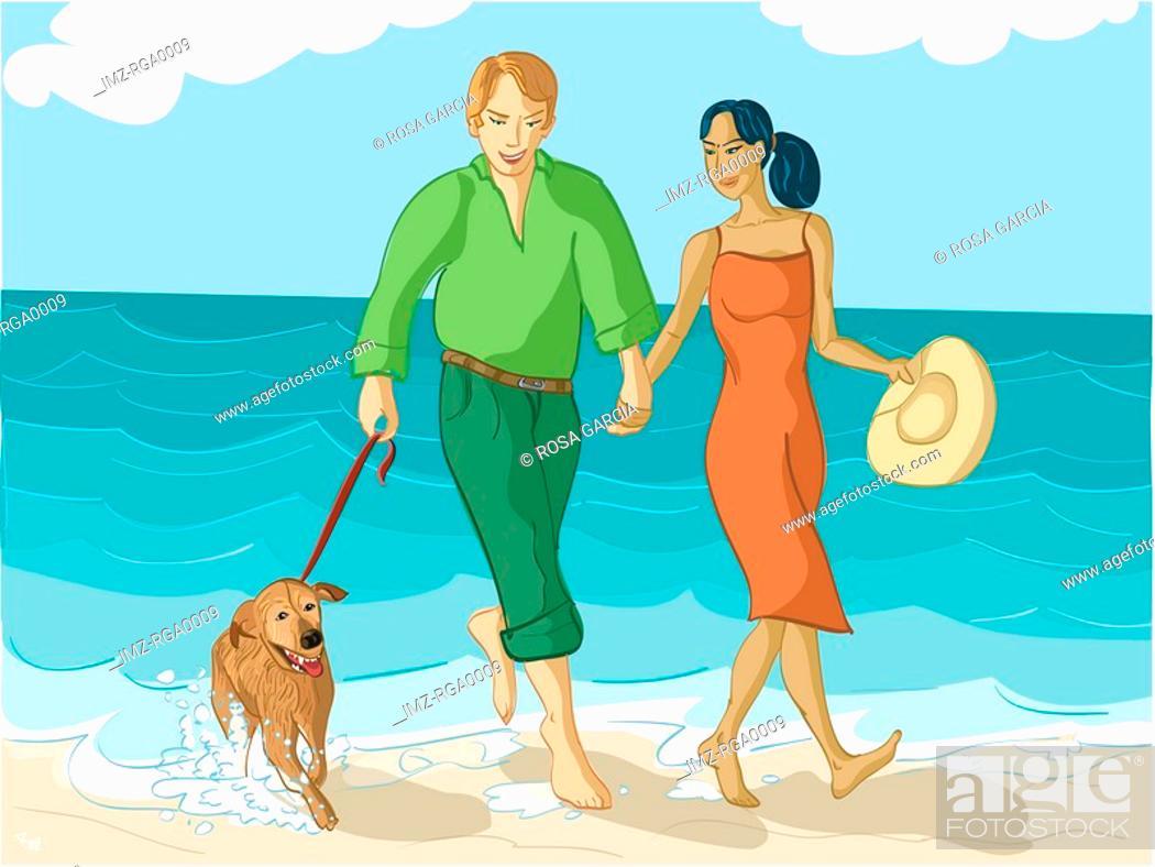 Stock Photo: couple walking their dog.