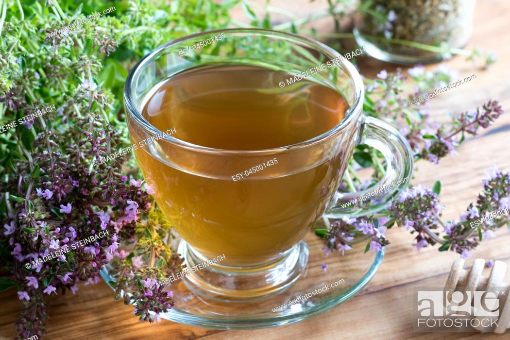 Stock Photo: A cup of Breckland thyme (thymus serpyllum) tea, with fresh Breckland thyme twigs on a wooden table.