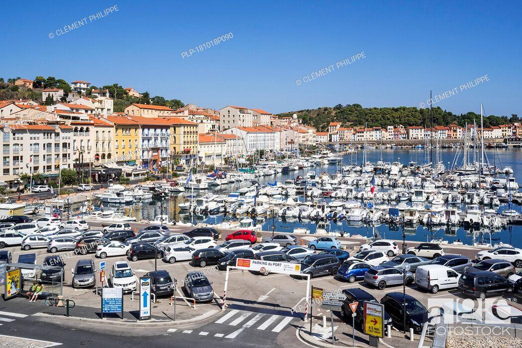 Stock Photo: Pleasure boats in marina / yacht basin at Port-Vendres, Mediterranean fishing port along the Côte Vermeille, Pyrénées-Orientales, France.