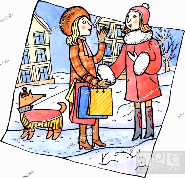 Stock Photo: Two women talking in the snow.