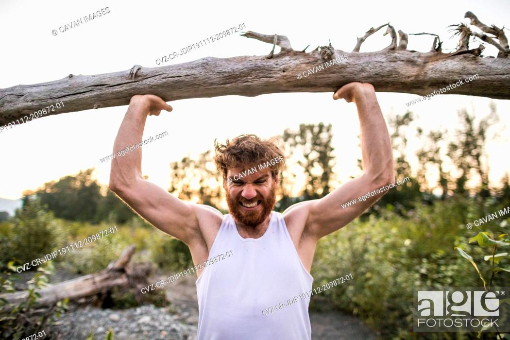 Stock Photo: Man exerting energy to lift tree over head during outdoor workout.