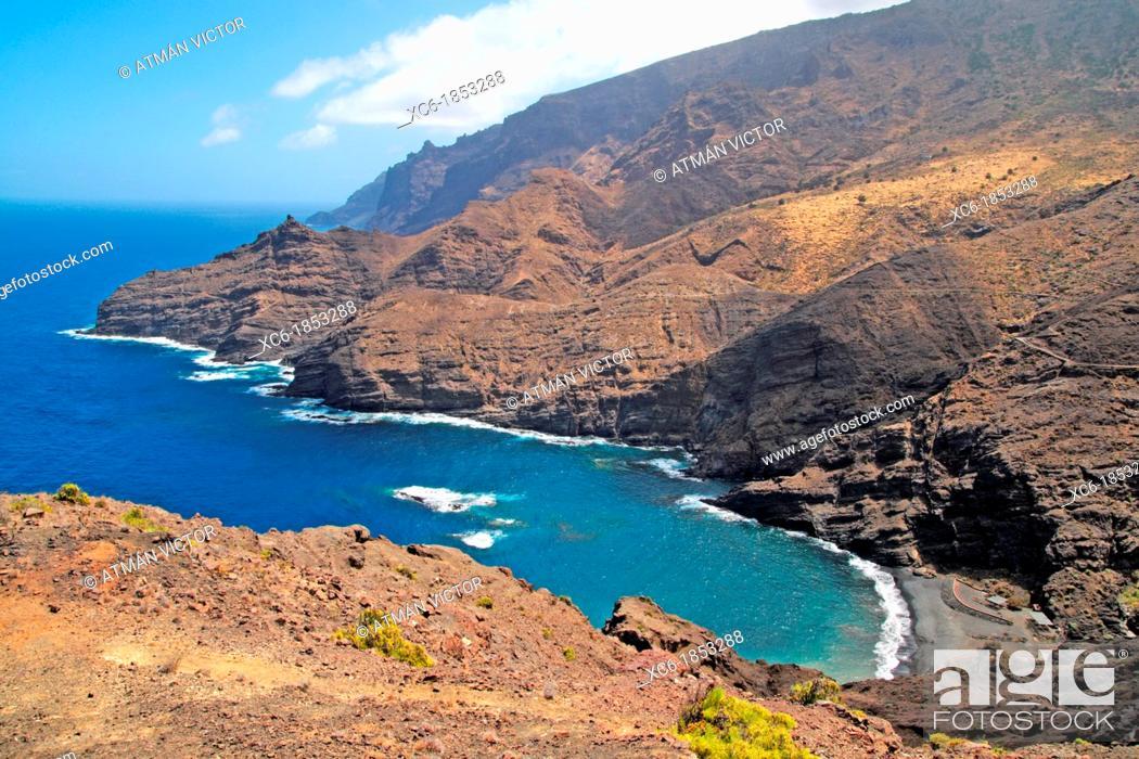 Stock Photo: La Caleta beach in La Gomera island.