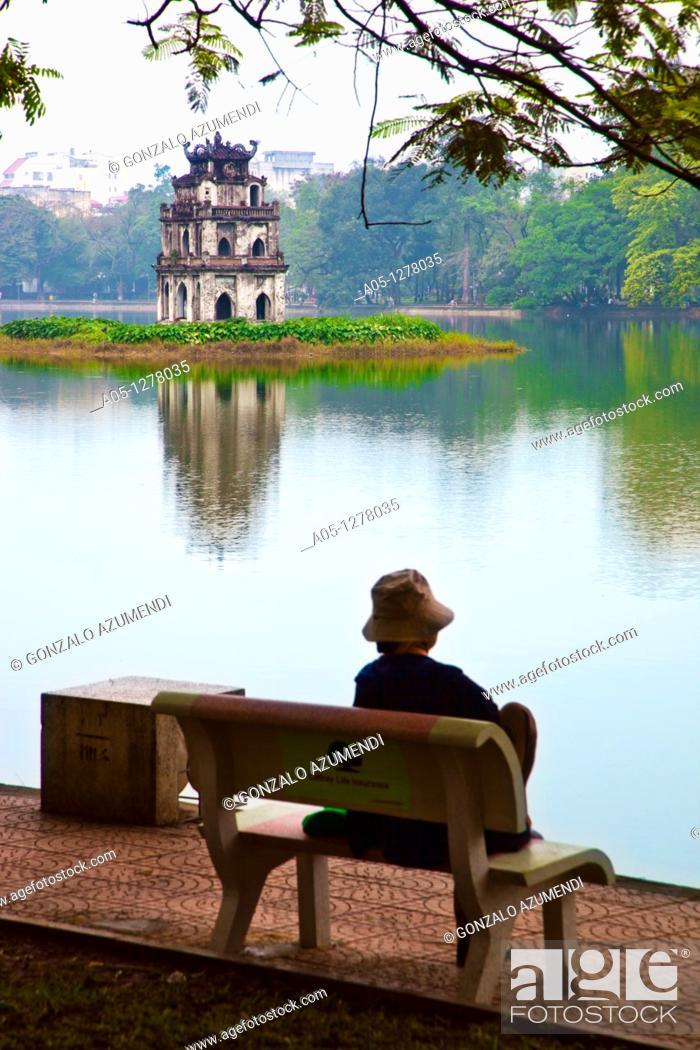 Stock Photo: Thap Rue Pagoda  Hoan Kiem Lake or tower a the turtle  Hanoi  Vietnam.