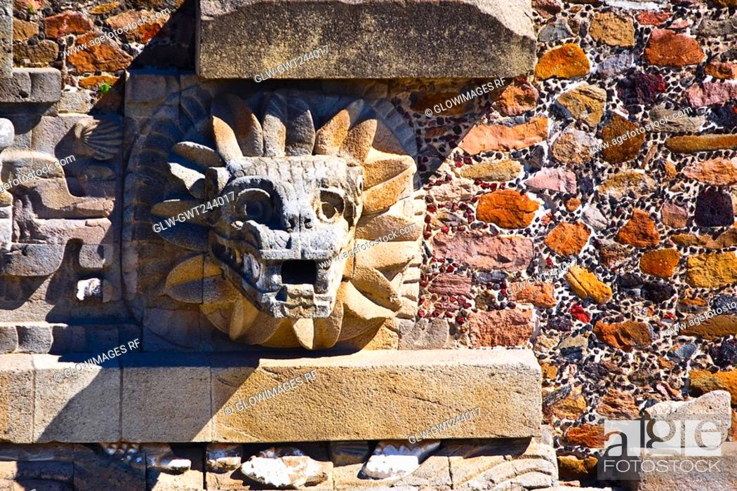 Stock Photo: Sculpture carved on the wall of a temple, Temple of Quetzalcoatl, Teotihuacan, Mexico.