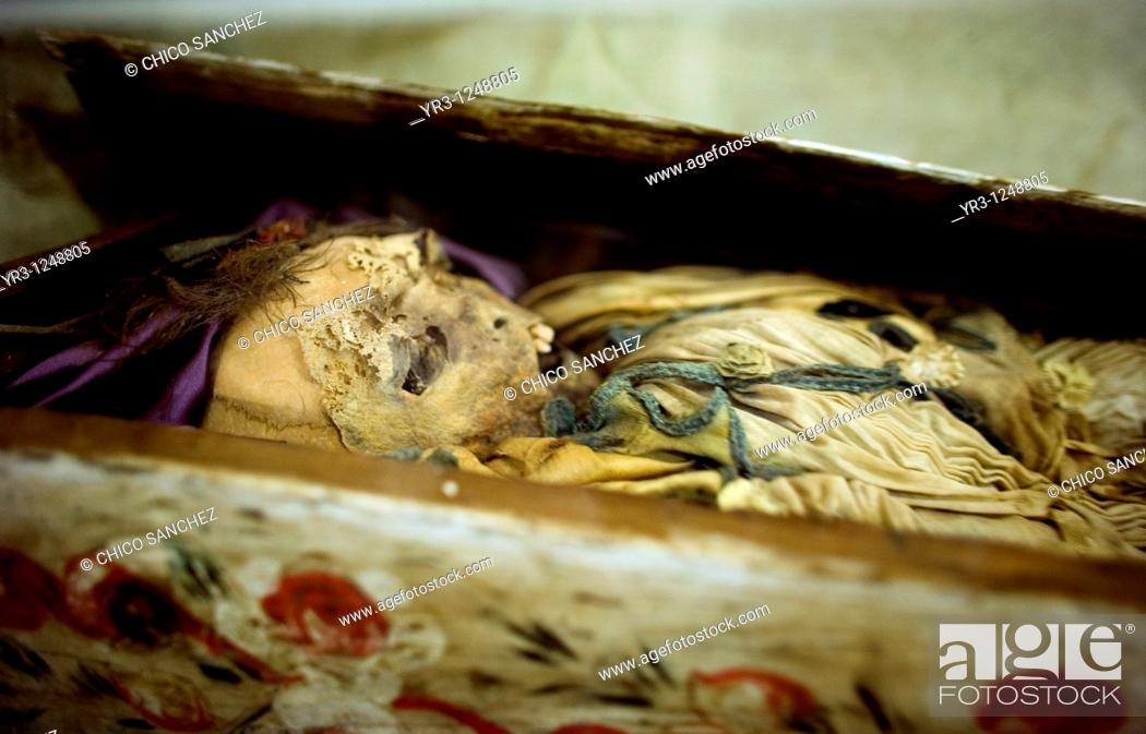 Stock Photo: A mummy sits on display in a museum that was formerly the San Juan Bautista convent in Tlayacapan, Mexico, December 17, 2007.