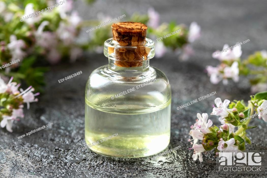 Stock Photo: A bottle of essential oil with blooming thyme on a dark background.