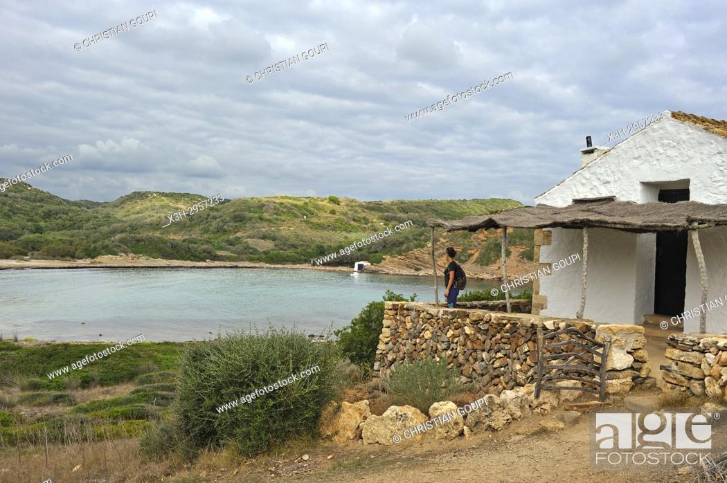 Stock Photo: shelter house on the edge of the Cami de Cavalls (hiking trail GR 223) beside the Cala Rambles, s'Albufera des Grau Natural Park, Menorca, Balearic Islands.