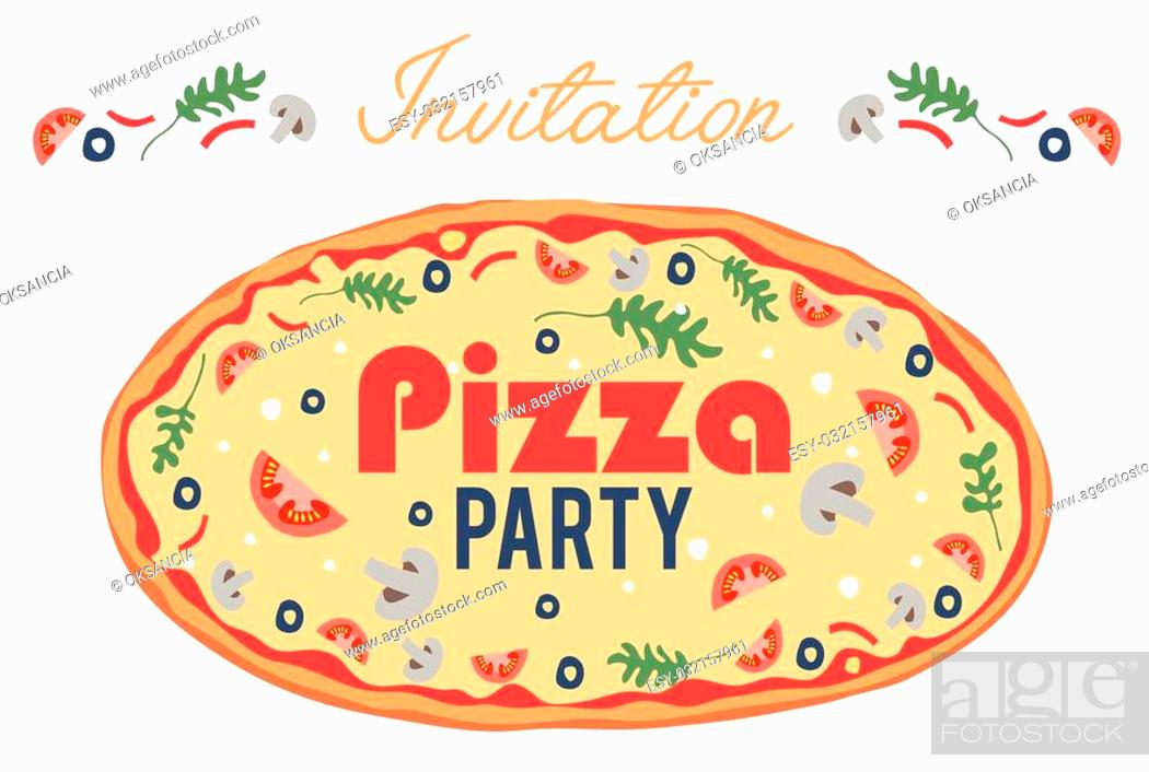 Stock Vector: Pizza Party Invitation Poster Flyer Card. Dinner. Social Event. Invite. Italian. Bring Your Own Topping. Graphic design.