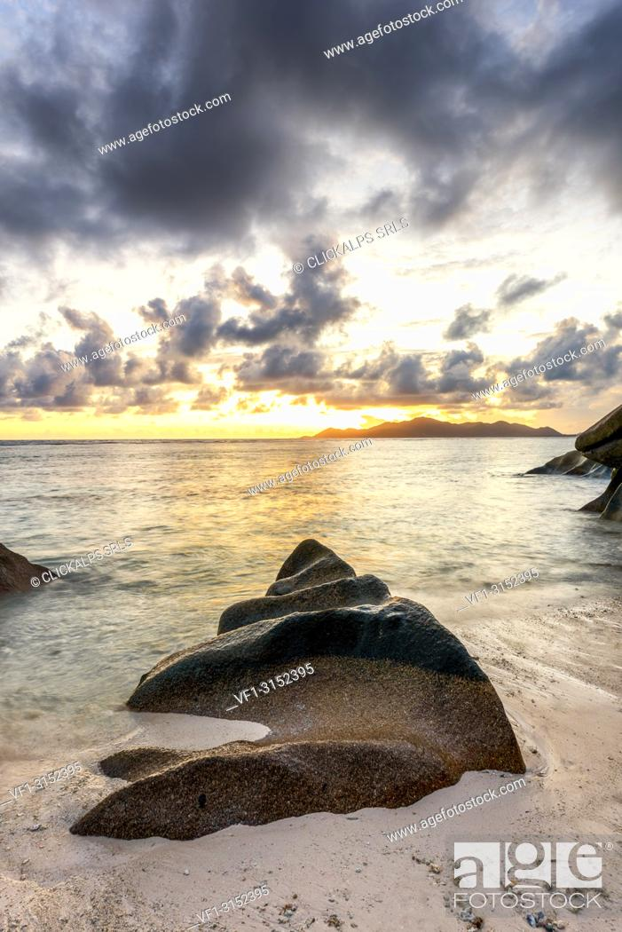 Stock Photo: Sunset at Anse Source d'Argent, La Digue island, Seychelles, Africa.