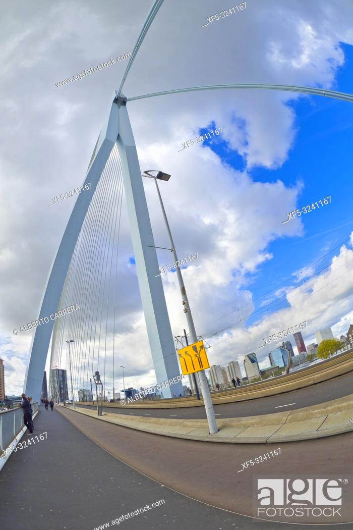 Photo de stock: Erasmus Bridge, Nieuwe Maas River, Modern Architecture, Rotterdam, Holland, Netherlands, Europe.