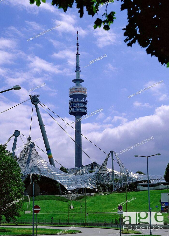 Stock Photo: City, Tower, Big, Germany, Antenna, Television, Metropolis, Bavaria, Stadium, Munich, Olympia, Olympic Stadium