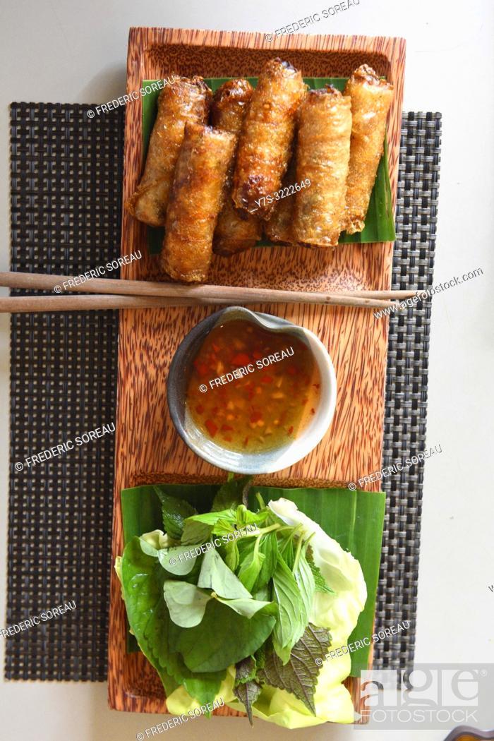 Stock Photo: Vietnamese dish Nem crispy rolls , Ho Chi Minh City, Vietnam, South East Asia.