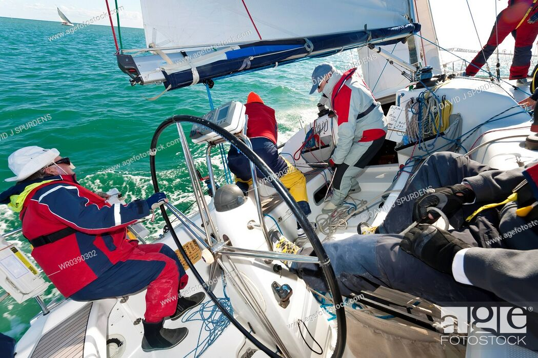 Stock Photo: An offshore yacht racing crew.