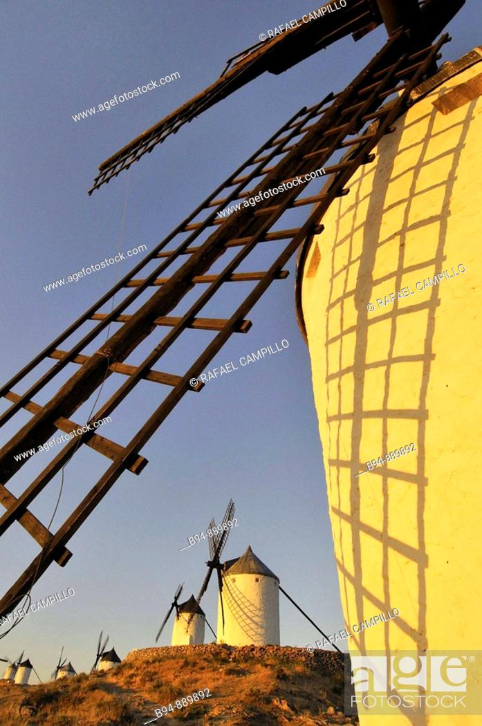 Stock Photo: Windmills, Consuegra. Toledo province, Castilla-La Mancha, Spain.