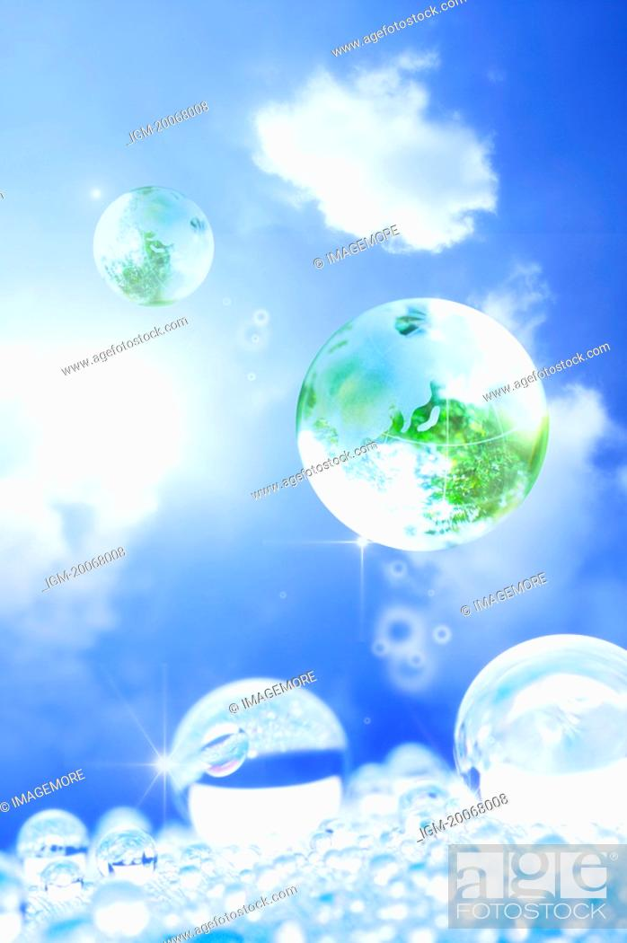 Stock Photo: Lohas, Environmental Conservation, Digitally generated image of drops in the blue sky.