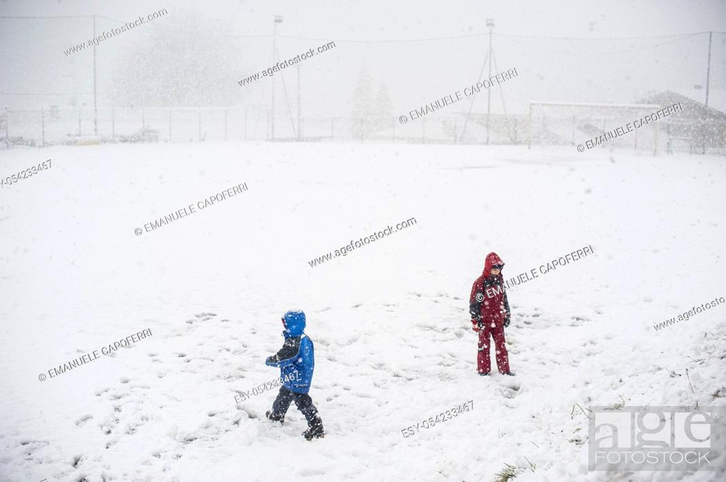 Stock Photo: Children play in the snow.