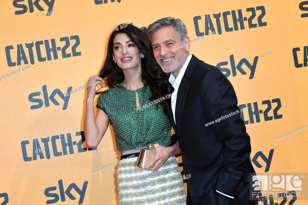 Stock Photo: George Clooney with Amal Clooney during 'Catch-22' TV show photocall, Rome, Italy - 13 May 2019.