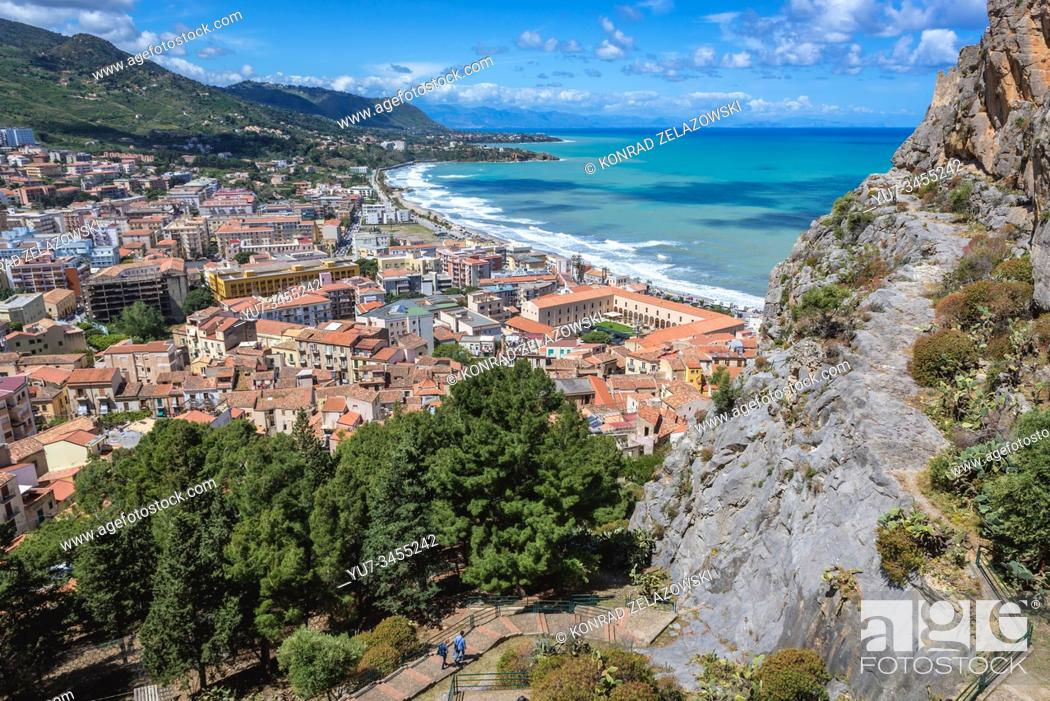 Stock Photo: View from tourist path on Rocca di Cefalu rock massif in Cefalu city and comune on the Tyrrhenian coast of Sicily, Italy.