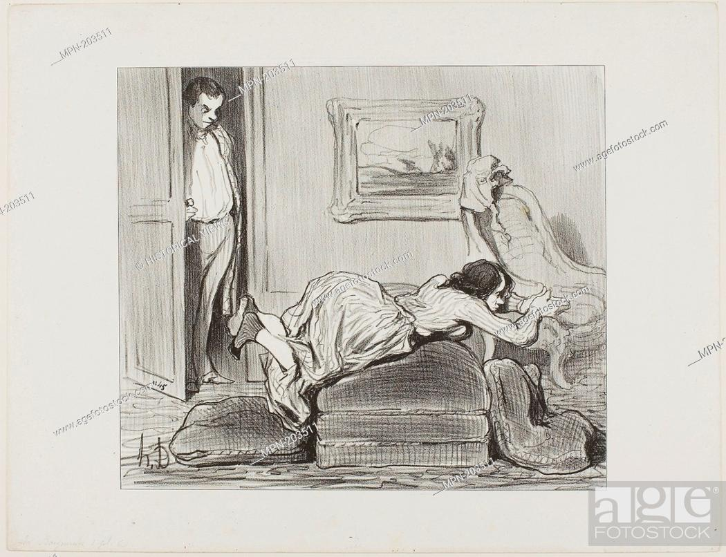 Stock Photo: A zealous student practicing at home, plate 6 from Les Baigneuses - 1847 - Honoré Victorin Daumier French, 1808-1879 - Artist: Honoré-Victorin Daumier.