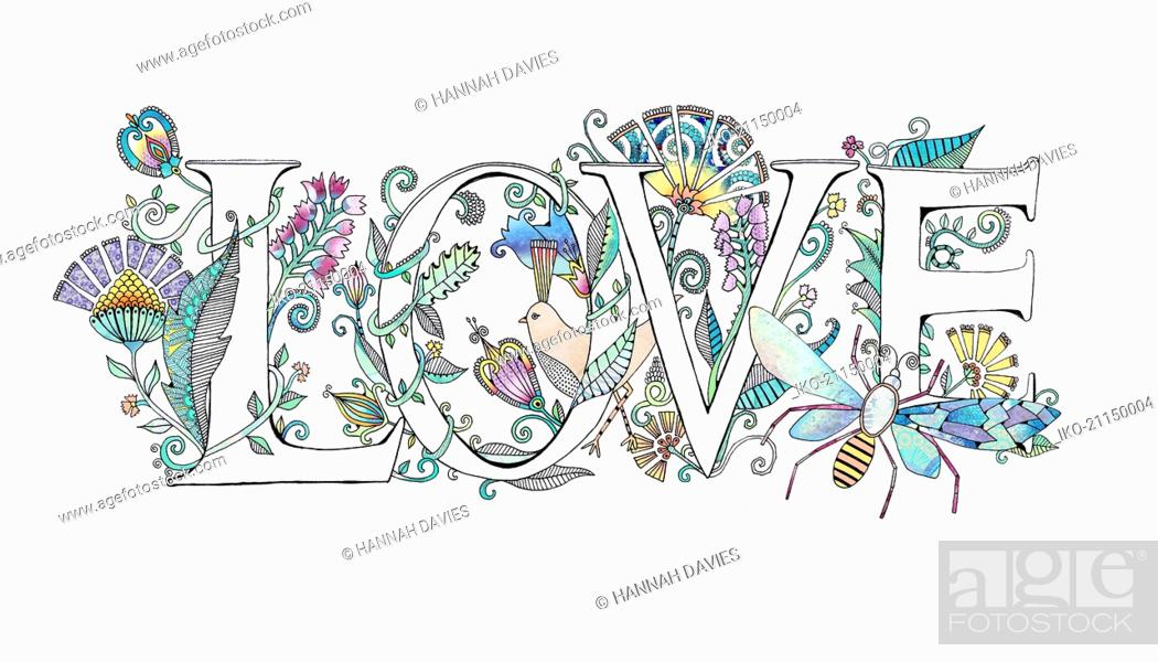 Stock Photo: The word 'love' decorated with flowers.