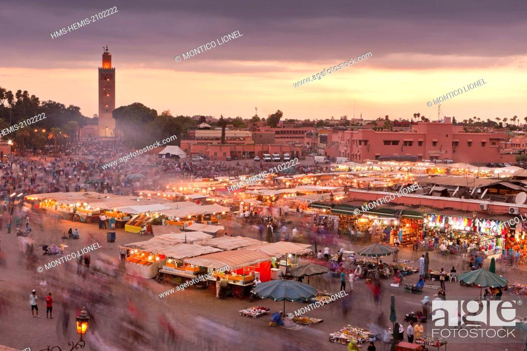 Stock Photo: Morocco, Haut Atlas, Marrakech, Imperial city, Medina listed as World Heritage by UNESCO, Jemaa El Fna square.