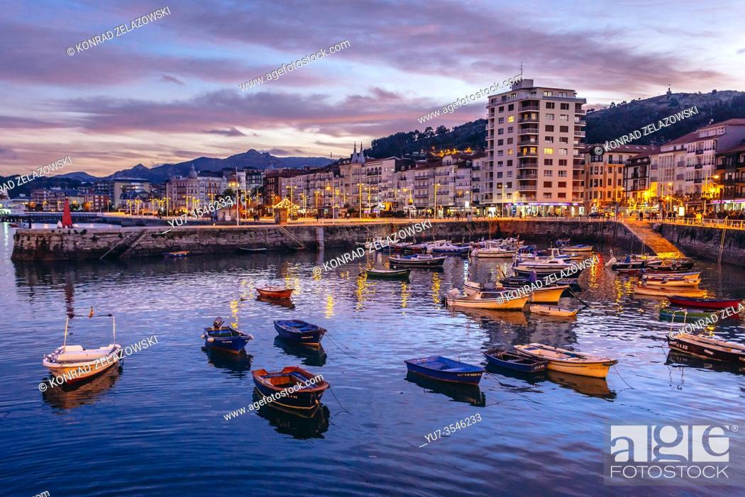 Stock Photo: Evening in Castro Urdiales seaport in Cantabria autonomous communit of Spain.