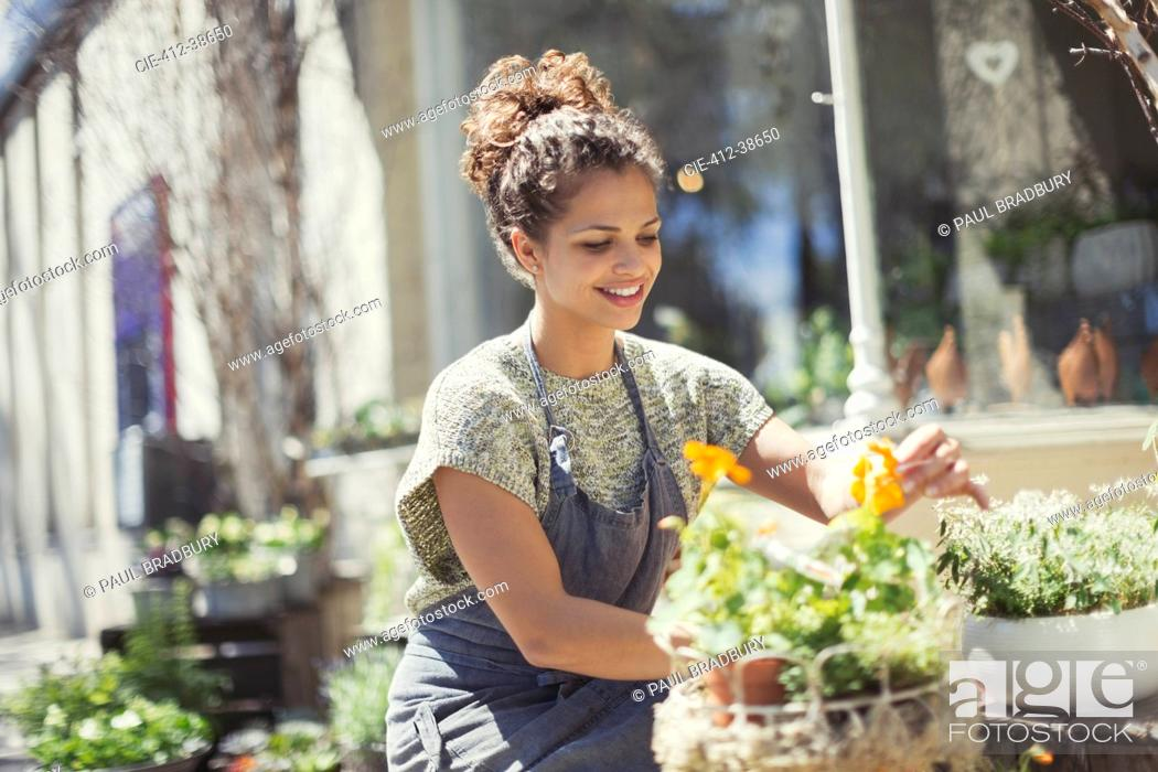 Stock Photo: Smiling female florist arranging display at sunny flower shop storefront.