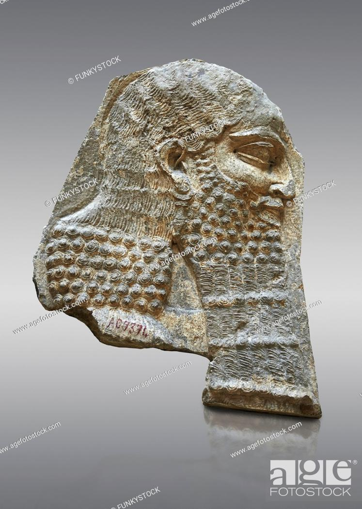 Stock Photo: Stone relief sculptured panel of a Dignitary. Inv AO 7374 from Dur Sharrukin the palace of Assyrian king Sargon II at Khorsabad, 713-706 BC.