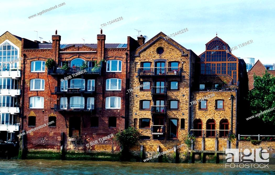 Stock Photo Docklands London Riverside Apartments Converted Warehouses