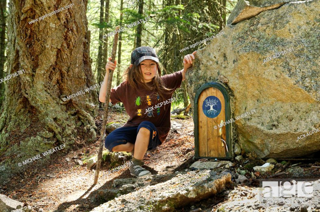 Stock Photo: Cedar Bricker at Fairy door, Mount Erskine, Salt Spring Island, British Columbia, Canada.