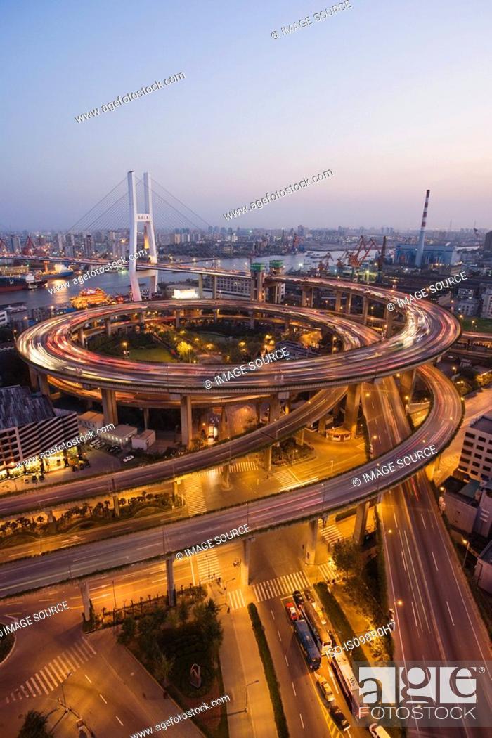 Stock Photo: Nanpu bridge shanghai.