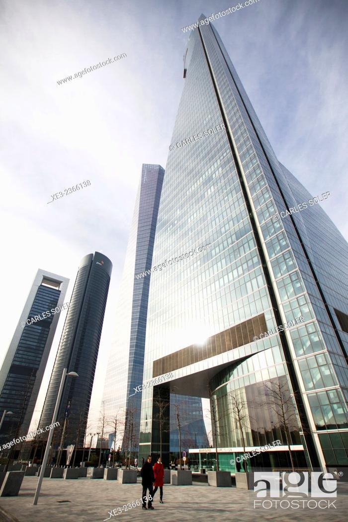 Stock Photo: Skyscrapers. Cuatro Torres Business Area (Four Towers Business Area). Paseo de la Castellana. Madrid. Spain.